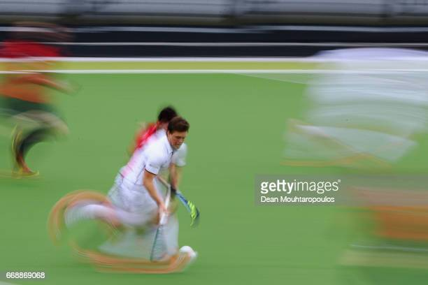 Tom Boon of Racing Club de Bruxelles in action during the Euro Hockey League KO16 match between KHC Dragons and Racing Club de Bruxelles at held at...