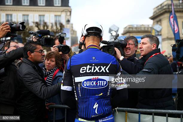 Tom Boonen of Belgium and Etixx Quick Step speaks with members of the media in the Place Charles de Gaulle before the 2016 Paris Roubaix cycle race...