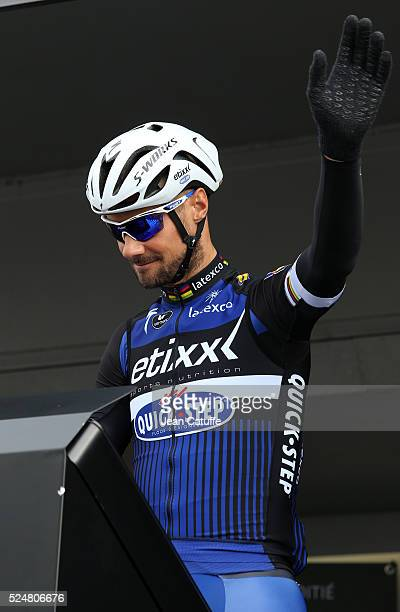 Tom Boonen of Belgium and Etixx Quick Step waves to the fans in the Place Charles de Gaulle before the start of the 2016 Paris Roubaix cycle race on...
