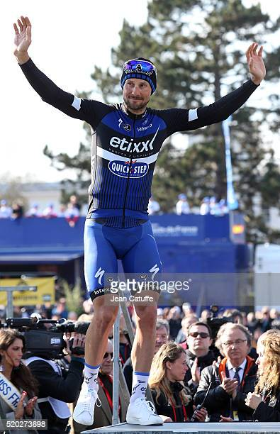 Tom Boonen of Belgium and EtixxQuick Step finishes second of ParisRoubaix 2016 cycling race at Velodrome of Roubaix on April 10 2016 in Roubaix France