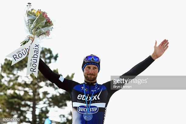 Tom Boonen of Belgium and EtixxQuick Step stands on the podium after finishing second in the 2016 Paris Roubaix from Compiegne to Roubaix on April 10...