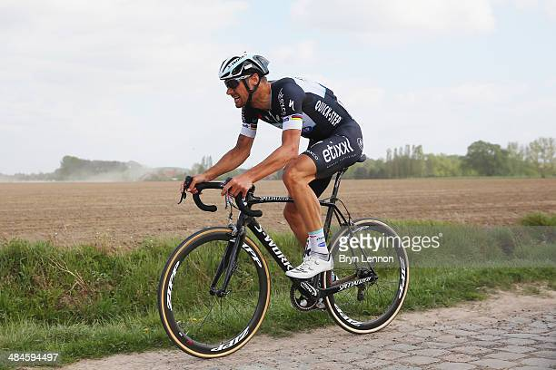 Tom Boonen of Belgium and Omega PharmaQuickStep in action during the 112th edition of the Paris Roubaix cycle race from Compiegne to Roubaix on April...