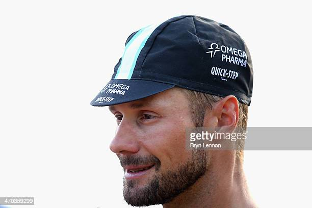 Tom Boonen of Belgium and Omega PharmaQuickStep talks to the media at the end of stage two of the Tour of Oman from Al Bustan to Quriyat on February...