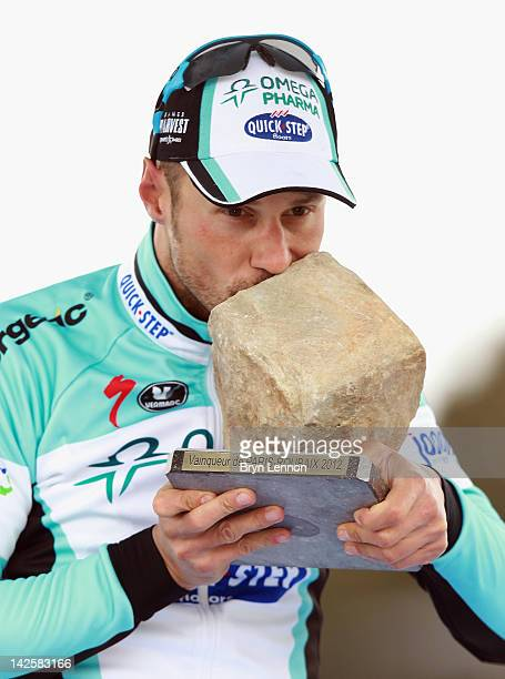 Tom Boonen of Belgium and Quick Step Omega Pharma celebrates winning the 2012 Paris Roubaix cycle race from Compiegne to Roubaix on April 8 2012 in...