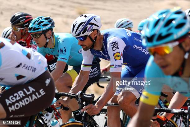 Tom Boonen of Belgium and QuickStep Floors rides in the peloton during stage six of the 8th Tour of Oman a 1305km road stage from The Wave Muscat to...