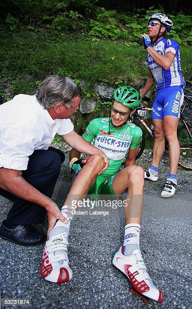 Tom Boonen of Belgium and Quickstep suffers from a crash during Stage 11 of the 92nd Tour de France between Courchevel and Briancon on July 13, 2005...