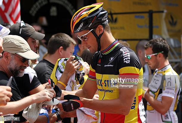 Tom Boonen of Belgium and riding for QuickStep signs autographs for fans prior to Stage One of the 2010 Tour of California from Nevada City to...