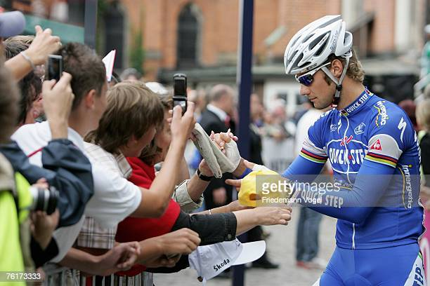 Tom Boonen of Belgium and Team Quick Step waits for the start during the Vattenfall Cyclassics on August 19 2007 in Hamburg Germany