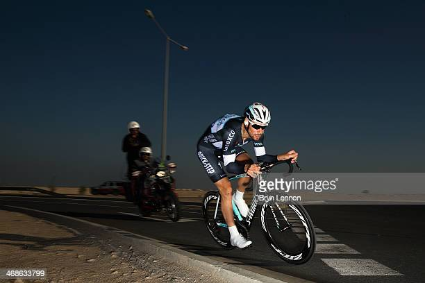 Tom Boonen of Belgium and the Omega Pharma QuickStep team in action during stage three of the Tour of Qatar a 109km individual time trial at the...