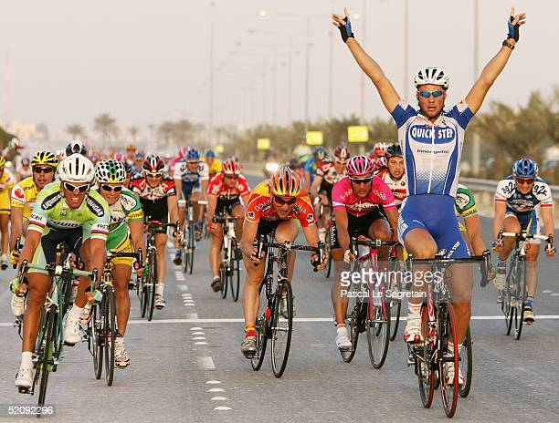 Tom Boonen of Belgium celebrates his victory in the first stage of the Qatar Tour on January 31 2005 in Doha Qatar