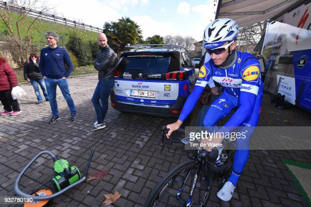 Tom Boonen of Belgium Julian Alaphilippe of France during training of Team QuickStep Floors for 109th MilanSan Remo 2018 on March 16 2018 in Milan...