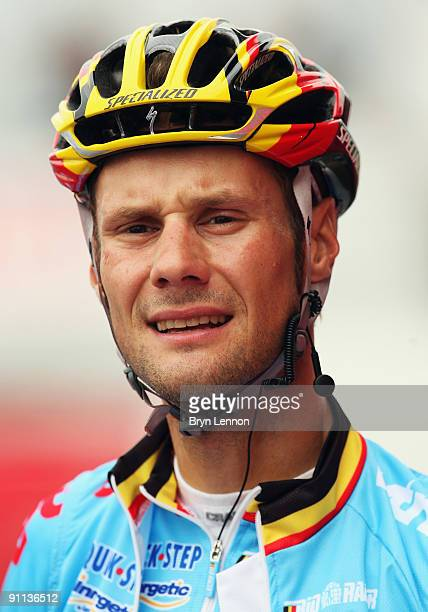 Tom Boonen of Belgium prepares to train for the 2009 UCI Road World Championships on September 25 2009 in Mendrisio Switzerland