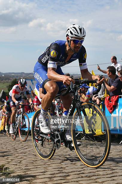 Tom Boonen of Belgium rides and EtixxQuickStep rides up the Paterberg during the 100th edition of the Tour of Flanders from Bruges to Oudenaarde on...
