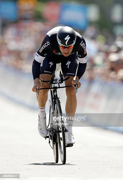 Tom Boonen of Belgium riding for the Omega PharmaQuickstep Cycling Team races to the finish line during the individual time trial in stage two of the...