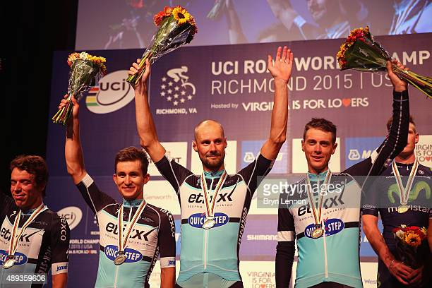 Tom Boonen of Belgium stands on the podium with his EtixxQuickStep team after finishing 2nd during the Men's Team Time Trial on day one of the UCI...
