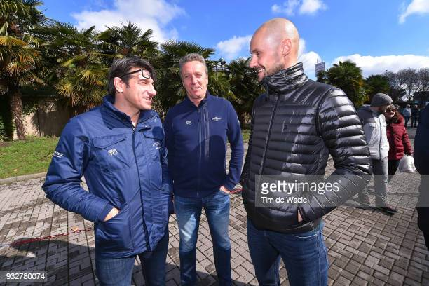 Tom Boonen of Belgium together with Bramati Davide of Italy QS sportsdirector and Toon Cruyt of Belgium Medic Doctor Team QS during training of Team...