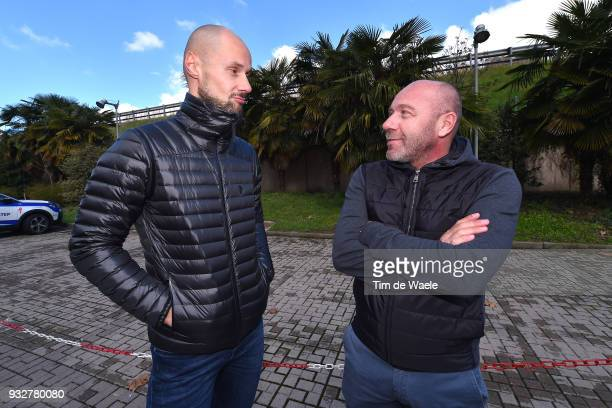 Tom Boonen of Belgium together with Riders manager Giovanni Lombardie of Italy Peter Sagan of Slovakia during training of Team QuickStep Floors for...