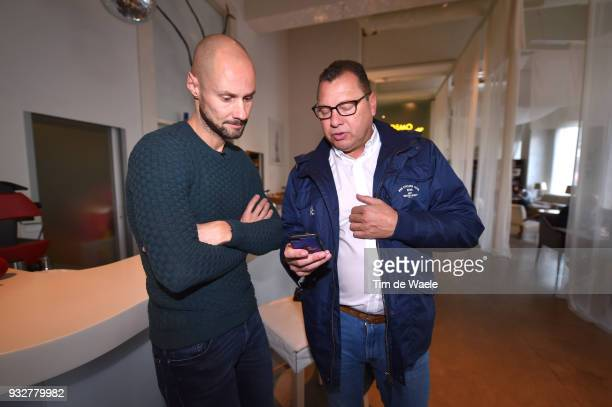 Tom Boonen of Belgium with Wilfried Peeters of Belgium QS Sportsdirector during training of Team QuickStep Floors for 109th MilanSan Remo 2018 on...