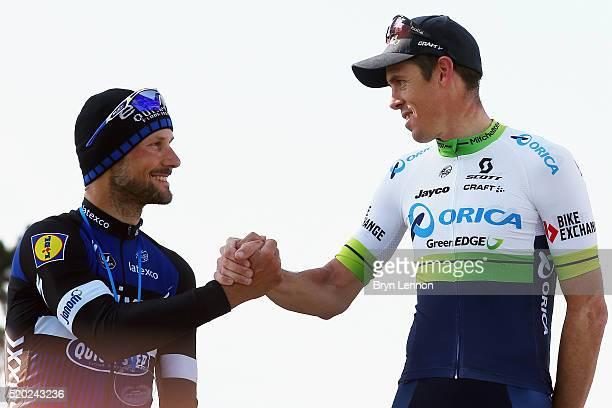 Tom Boonen of Great Britain and EtixxQuick Step shakes hands with race winner Mathew Hayman of Australia and OricaGreenEDGE in the 2016 Paris Roubaix...