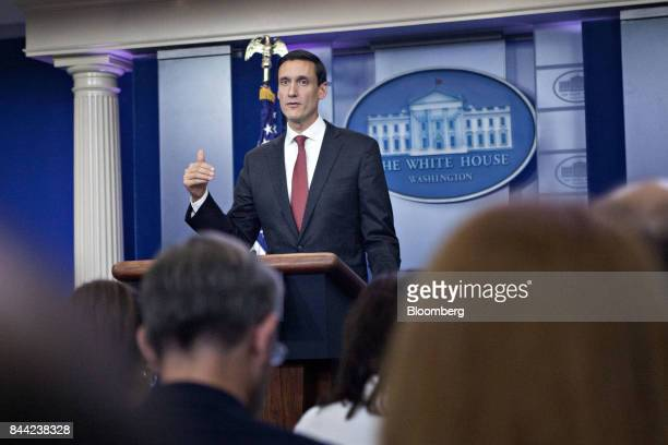 Tom Bossert assistant to US President Donald Trump for the US Department of Homeland Security speaks during a White House press briefing in...