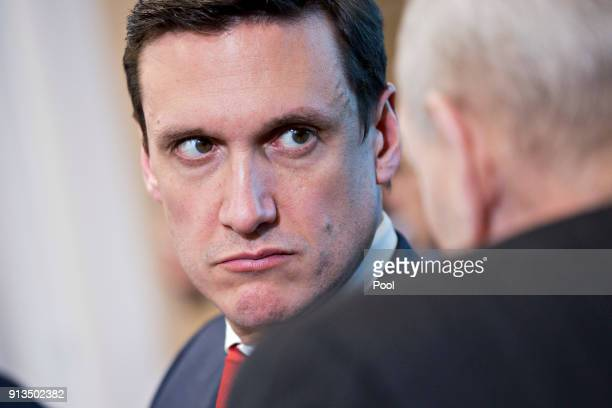 Tom Bossert assistant to US President Donald Trump for the US Department of Homeland Security talks to John Kelly White House chief of staff right...