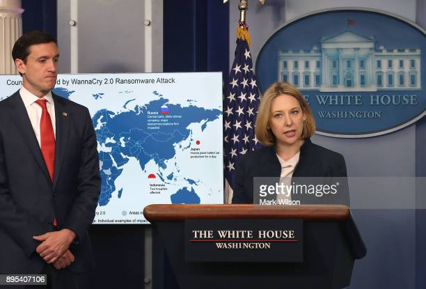 Tom Bossert White House homeland security advisor and Jeanette Manfra chief of cybersecurity for the Department of Homeland Security brief reporters...