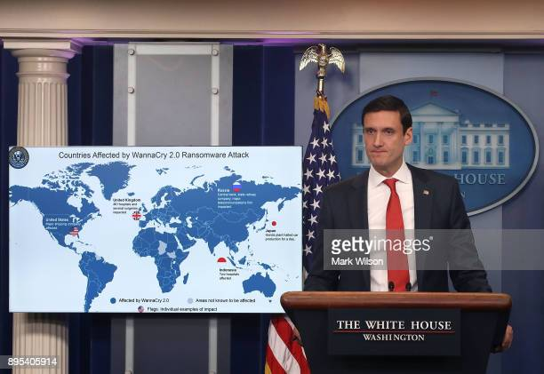 Tom Bossert White House homeland security advisor briefs reporters about the WannaCry cyberattack earlier this year at the White House on December 19...