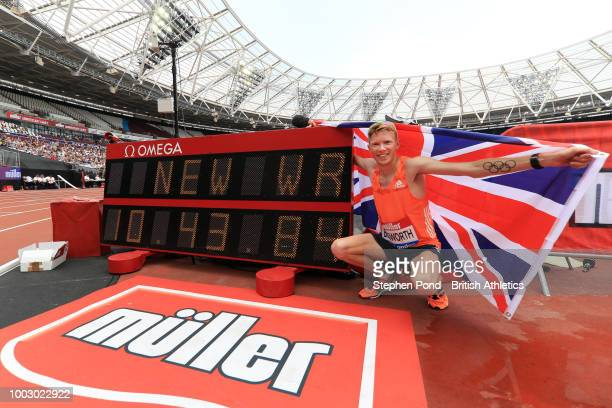 Tom Bosworth of Great Britain celebrates victory and a new World Record in the Mens 3000M Walk Race during Day One of the Muller Anniversary Games at...