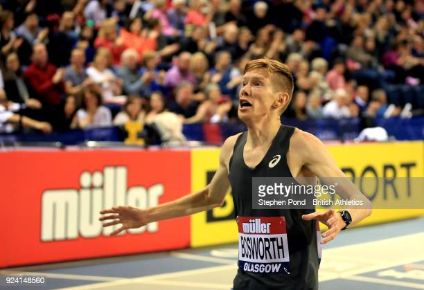 Tom Bosworth of Great Britain celebrates winning the mens 3000m race walk in a new world record time during the Muller Indoor Grand Prix event on the...