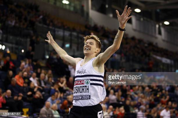 Tom Bosworth of Great Britain celebrates winning the Men's 5000m Race Walk and setting a new British record on day two of the SPAR British Athletics...