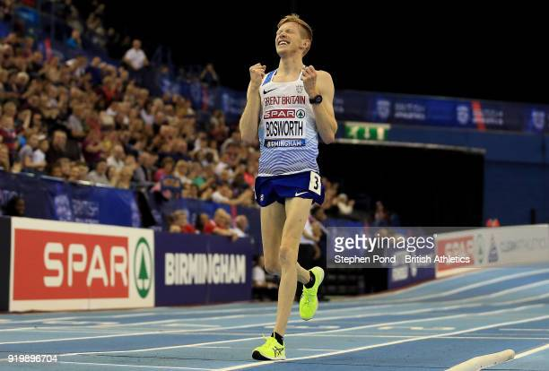 Tom Bosworth of Great Britain celebrates winning the men's 5000m race walk final during day two of the SPAR British Athletics Indoor Championships at...