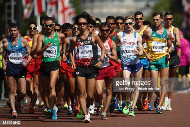 Tom Bosworth of Great Britain Dane Birdsmith of Australia Eiki Takahashi of Japan and others compete in the Men's 20 Kilometres Race Walk final...