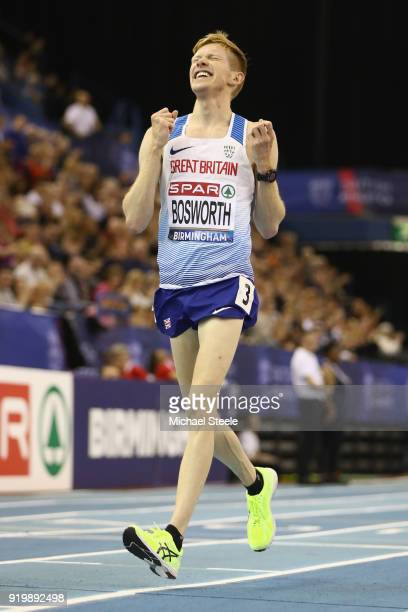 Tom Bosworth of Tonbridge AC celebrates winning the men's 5000m walk final during day two of the SPAR British Athletics Indoor Championships at Arena...