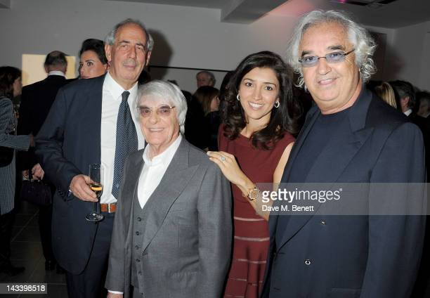 """Tom Bower, Bernie Ecclestone, Fabiana Flosi, and Flavio Briatore attend a party celebrating the launch of """"Sweet Revenge: The Intimate Life of Simon..."""