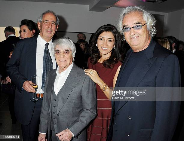 Tom Bower Bernie Ecclestone Fabiana Flosi and Flavio Briatore attend a party celebrating the launch of Sweet Revenge The Intimate Life of Simon...