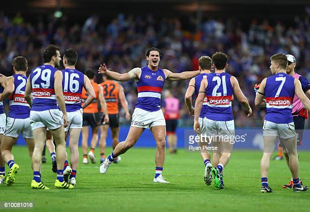 Tom Boyd of the Bulldogs celebrates during the AFL First Preliminary Final match between the Greater Western Sydney Giants and the Western Bulldogs...