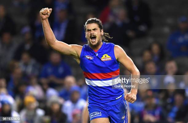 Tom Boyd of the Bulldogs celebrates kicking a goal during the round 14 AFL match between the Western Bulldogs and the North Melbourne Kangaroos at...