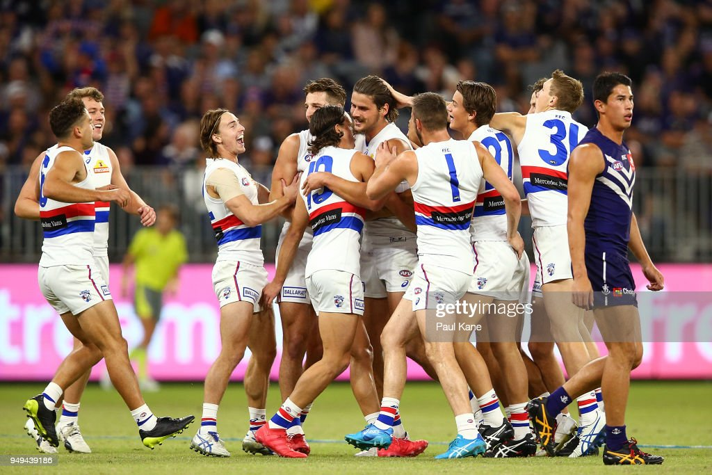 Tom Boyd of the Bulldogs celebreates a goal during the round five AFL match between the Fremantle Dockers and the Western Bulldogs at Optus Stadium on April 21, 2018 in Perth, Australia.