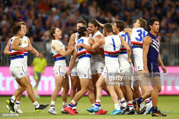 Tom Boyd of the Bulldogs celebreates a goal during the round five AFL match between the Fremantle Dockers and the Western Bulldogs at Optus Stadium...