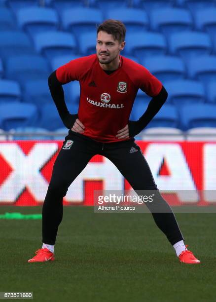 Tom Bradshaw in action during the Wales Press Conference and Training Session at The Cardiff City Stadium on November 13 2017 in Cardiff Wales
