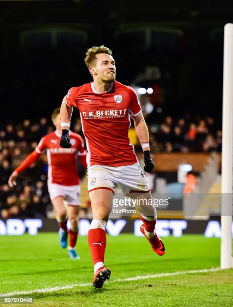Tom Bradshaw of Barnsley celebrates scoring a goal for his side on second half during Sky Bet Championship match between Fulham against Barnsley at...
