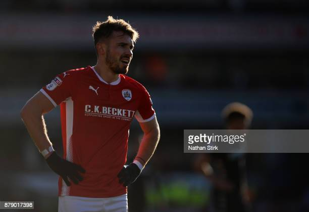 Tom Bradshaw of Barnsley looks on during the Sky Bet Championship match between Barnsley and Leeds United at Oakwell Stadium on November 25 2017 in...