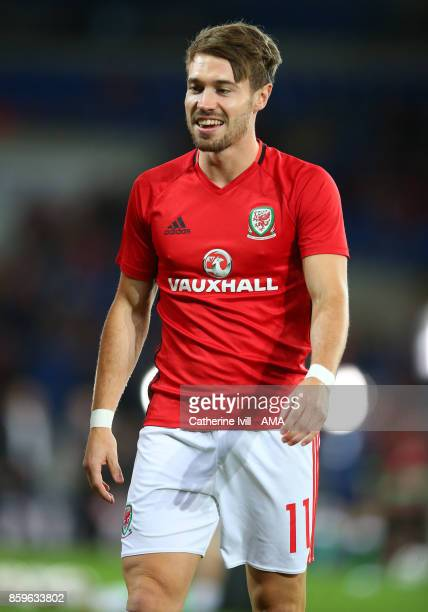 Tom Bradshaw of Wales during the FIFA 2018 World Cup Qualifier between Wales and Republic of Ireland at Cardiff City Stadium on October 9 2017 in...