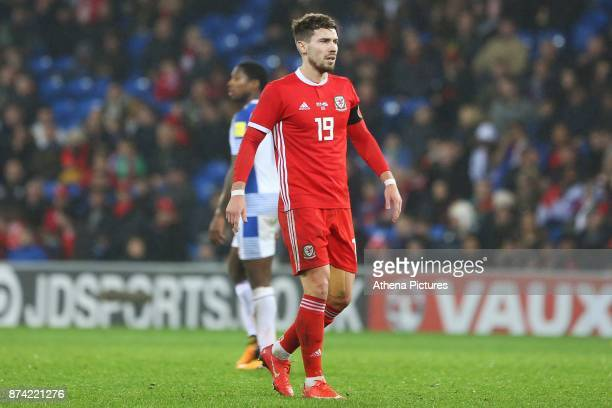 Tom Bradshaw of Wales during the International Friendly match between Wales and Panama at The Cardiff City Stadium on November 14 2017 in Cardiff...
