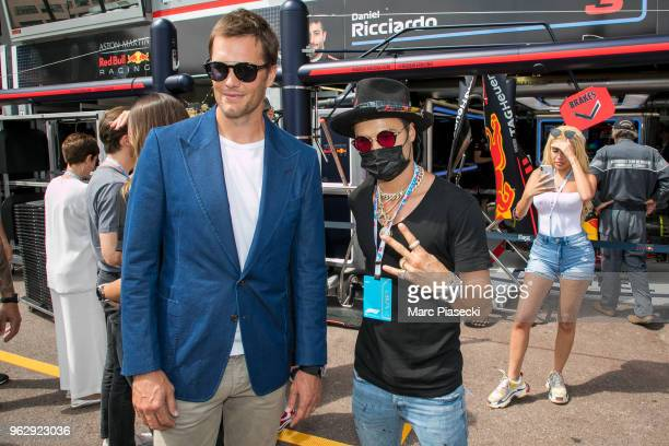 Tom Brady and Alec Monopoly are seen during the Monaco Formula One Grand Prix at Circuit de Monaco on May 27 2018 in MonteCarlo Monaco