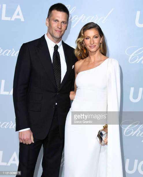 Tom Brady and Gisele Bündchen arrive at the Hollywood For Science Gala at Private Residence on February 21 2019 in Los Angeles California