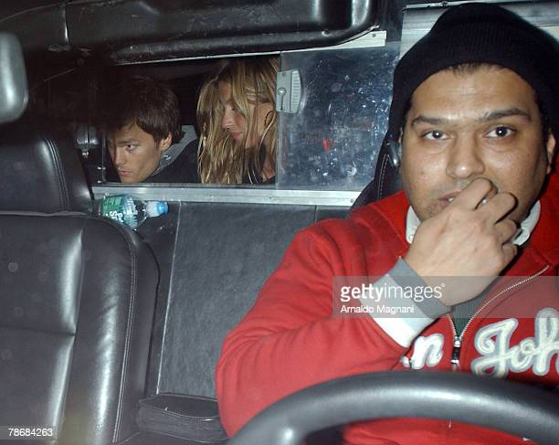 Tom Brady and Gisele Bundchen are seen in the taxi as they are going out for dinner December 31 2007 in New York City Reportedly they split from each...