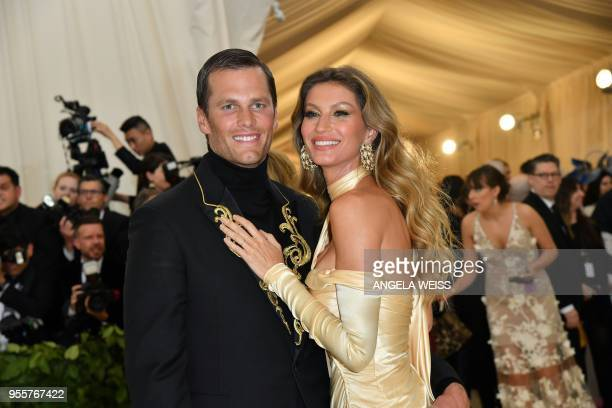 Tom Brady and Gisele Bundchen arrive for the 2018 Met Gala on May 7 at the Metropolitan Museum of Art in New York / The erroneous mention[s]...