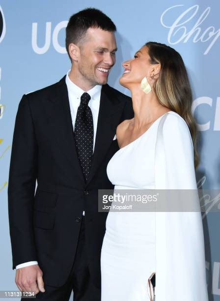 Tom Brady and Gisele Bundchen attend the 2019 Hollywood For Science Gala at Private Residence on February 21 2019 in Los Angeles California