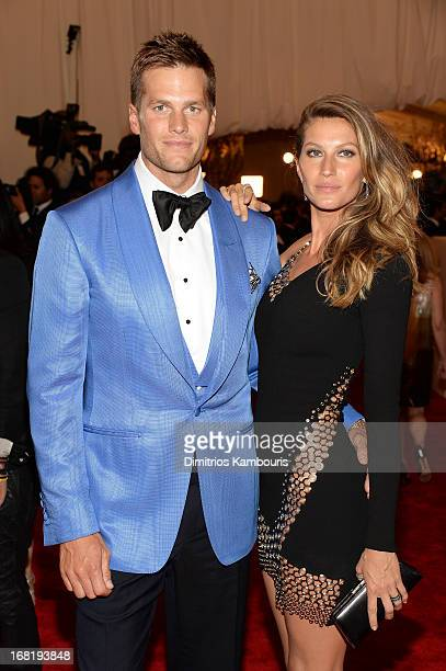 Tom Brady and Gisele Bundchen attend the Costume Institute Gala for the 'PUNK Chaos to Couture' exhibition at the Metropolitan Museum of Art on May 6...